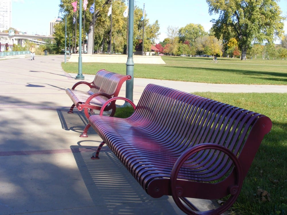 park bench, empty park bench