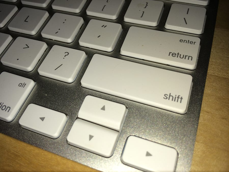 Apple Wireless Keyboard with Shift Key, Shift key on Apple Wireless keyboard, Apple keyboard