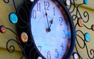 analog clock, colorful analog clock, clock with iron accents