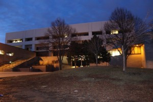 Saint Paul Central High School building at night