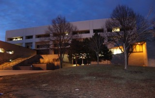 Saint Paul Central High School building at night