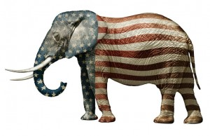 the trouble with Republicans, Republican symbol, Elephant with flag