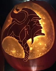 Pumpkin Nights, Vikings logo carved into a pumpkin