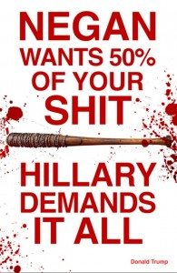 Sabo poster about Negan and Hillary Clinton