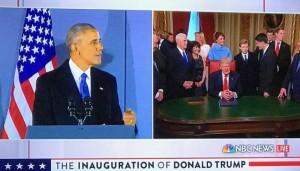 split screen of Donald Trump and Barrack Obama