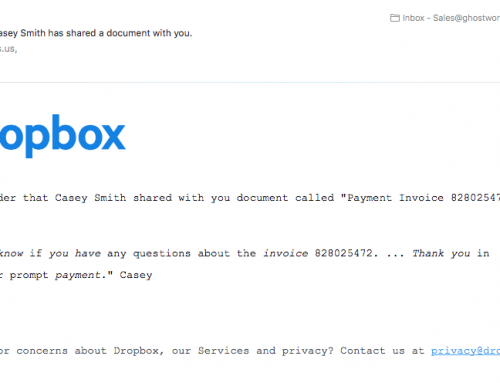 Dropbox Phishing Scam – Don't Click on the Links!!!