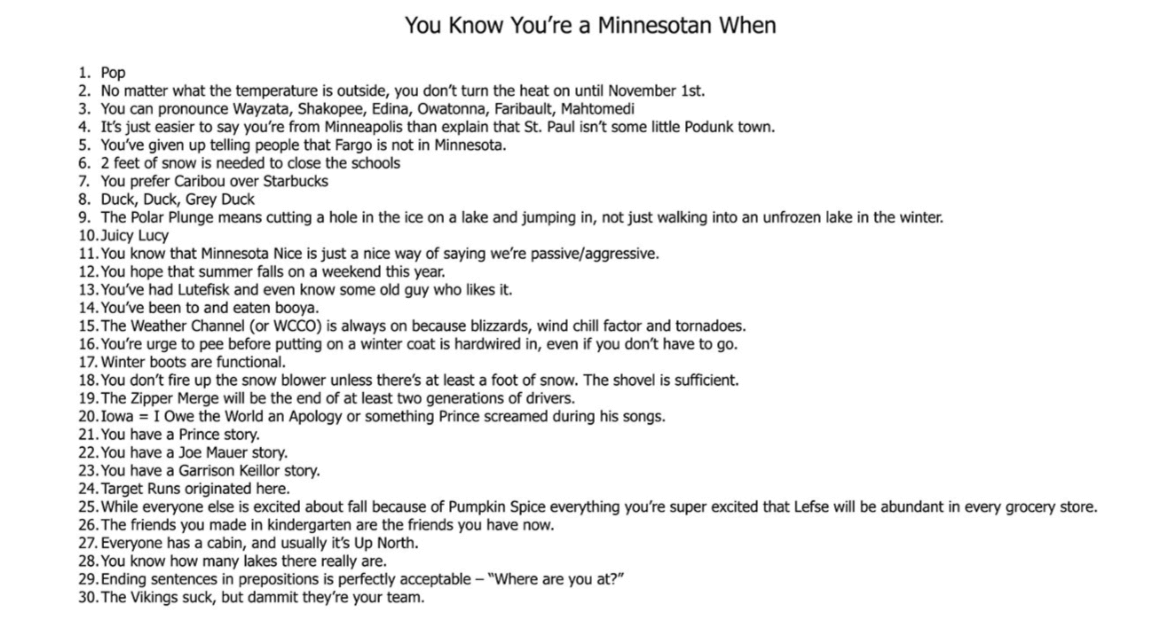 how to tell if you're a Minnesotan