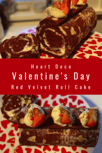 Red Velvet Heart Deco Roll Cake