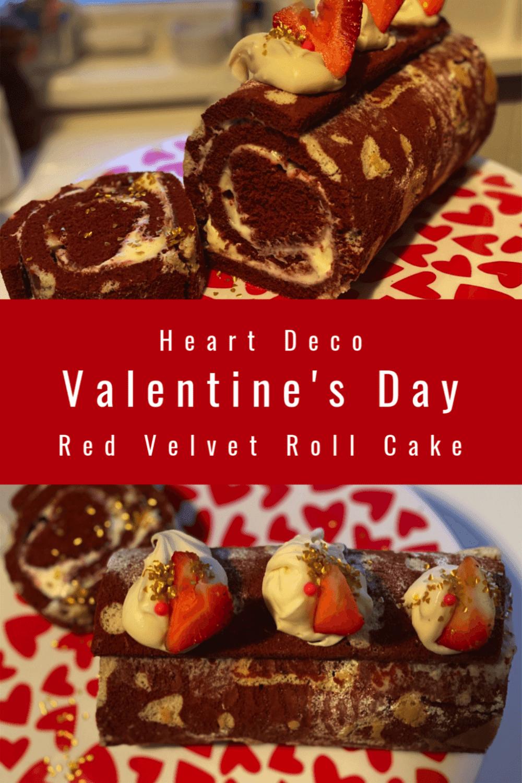 Red Velvet Heart Deco Roll Cake