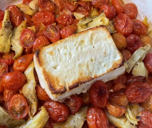 baked feta pasta with artichoke hearts